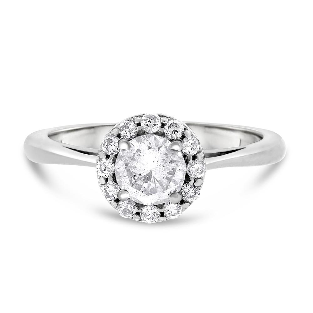 "Image of ""14k White Gold 0.75 CT Natural Diamond Round Halo Engagement Ring Size"""
