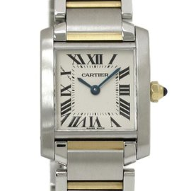Cartier Tank W51007Q4 Stainless Steel and Yellow Gold Quartz 25mm Womens Watch