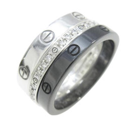 Cartier Love 18k White Gold and Ceramic Diamond Ring Size 4.5
