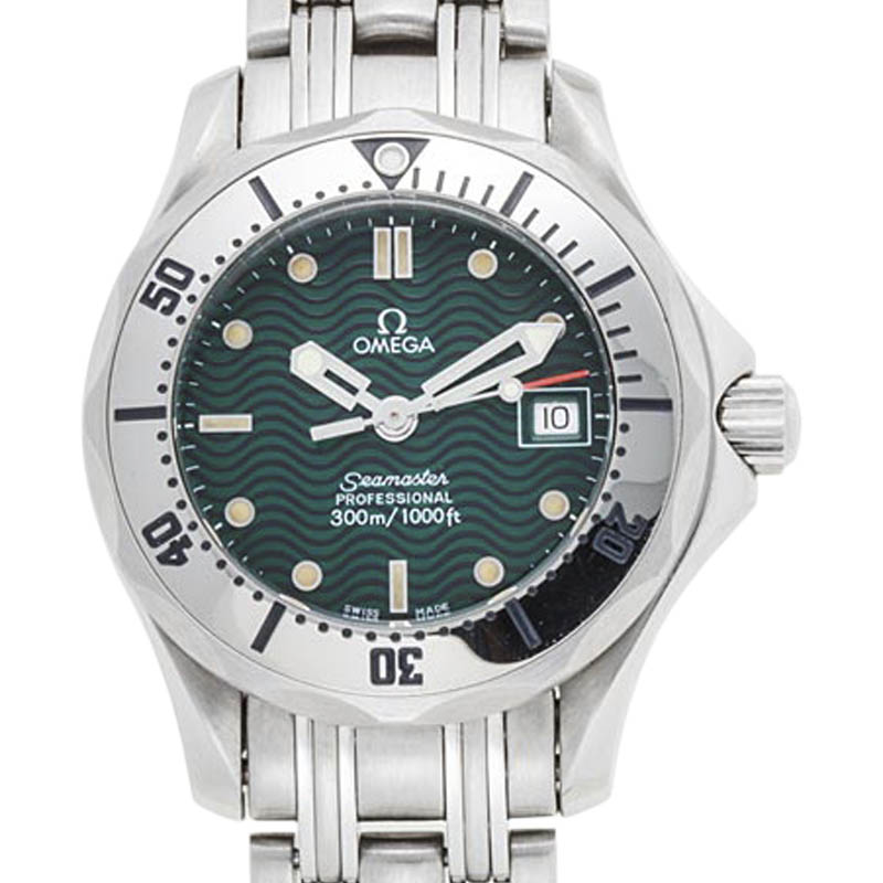 "Image of ""Omega Seamaster Stainless Steel with Green Dial Quartz 28mm Mens Watch"""
