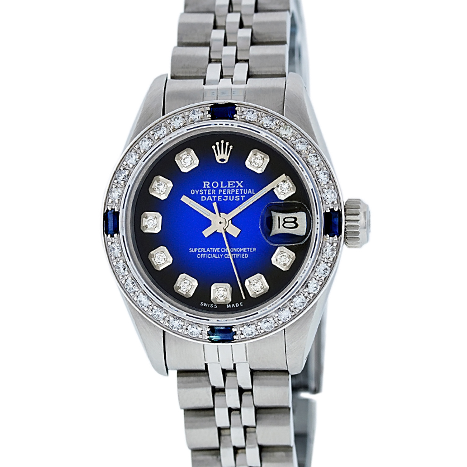 """Image of """"Rolex Ladies Datejust 6917 Stainless Steel & 18K White Gold Blue"""""""