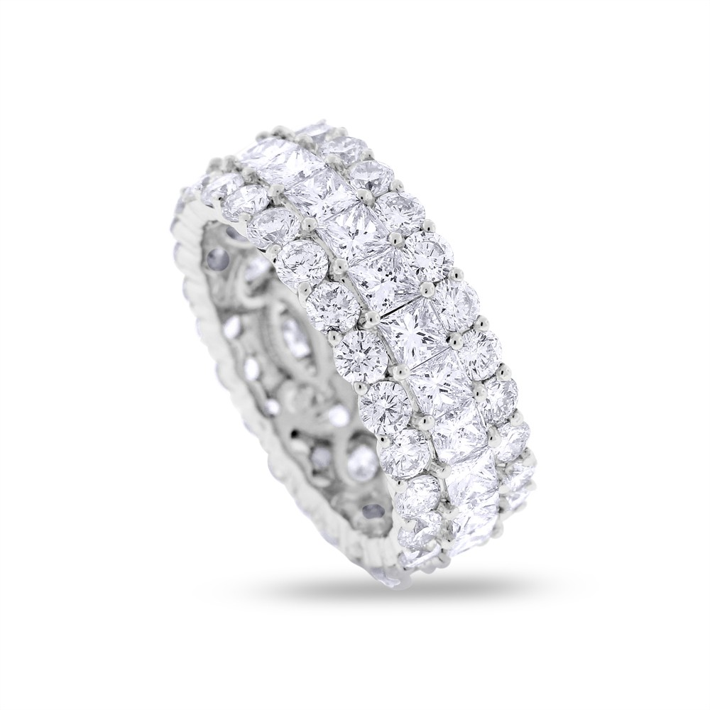 "Image of ""18k White Gold 6.34ct. Diamond Round & Princess Wide Eternity Band"""