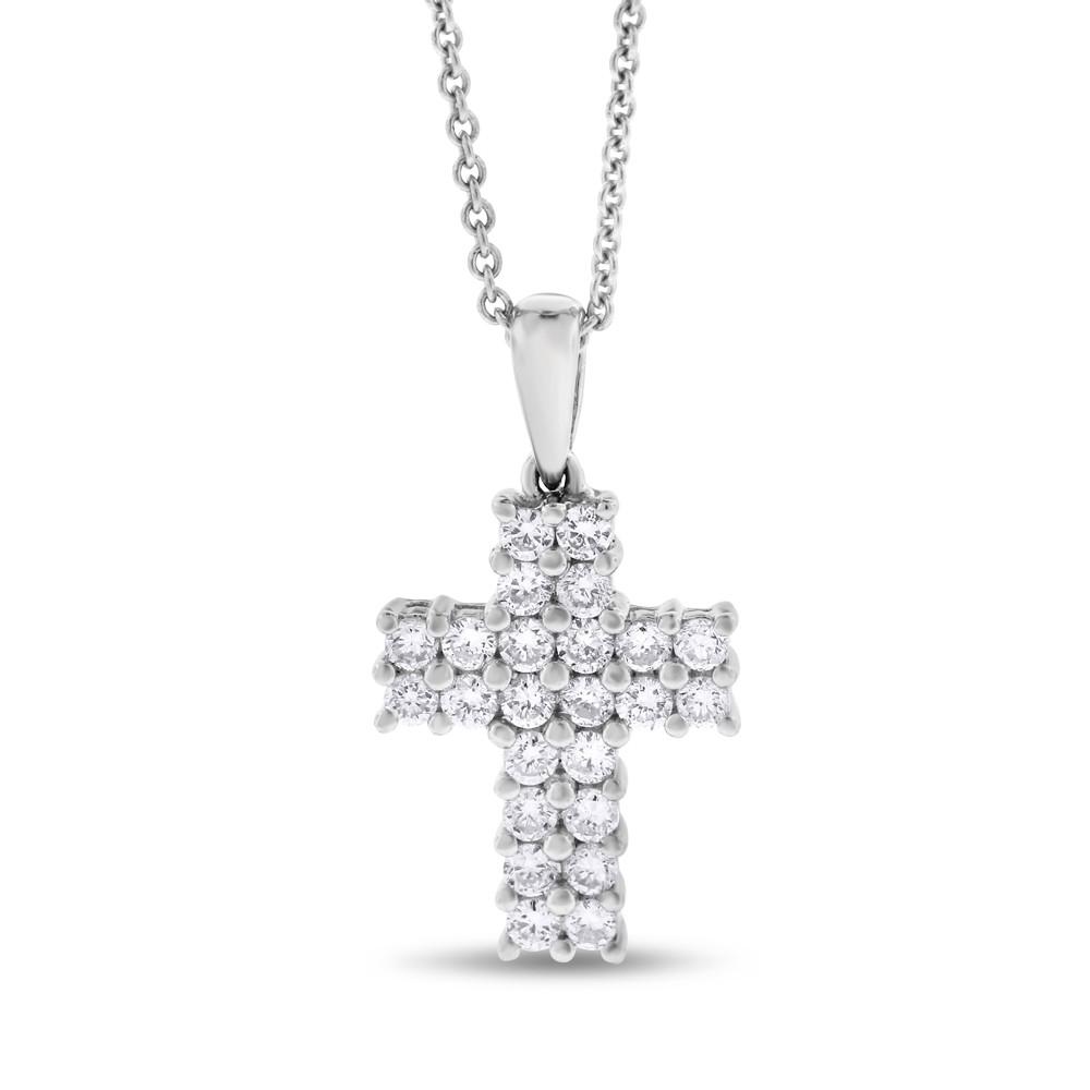 "Image of ""18k White Gold 0.50 Ct. Natural Fine Diamond Small Cross Pendant"""