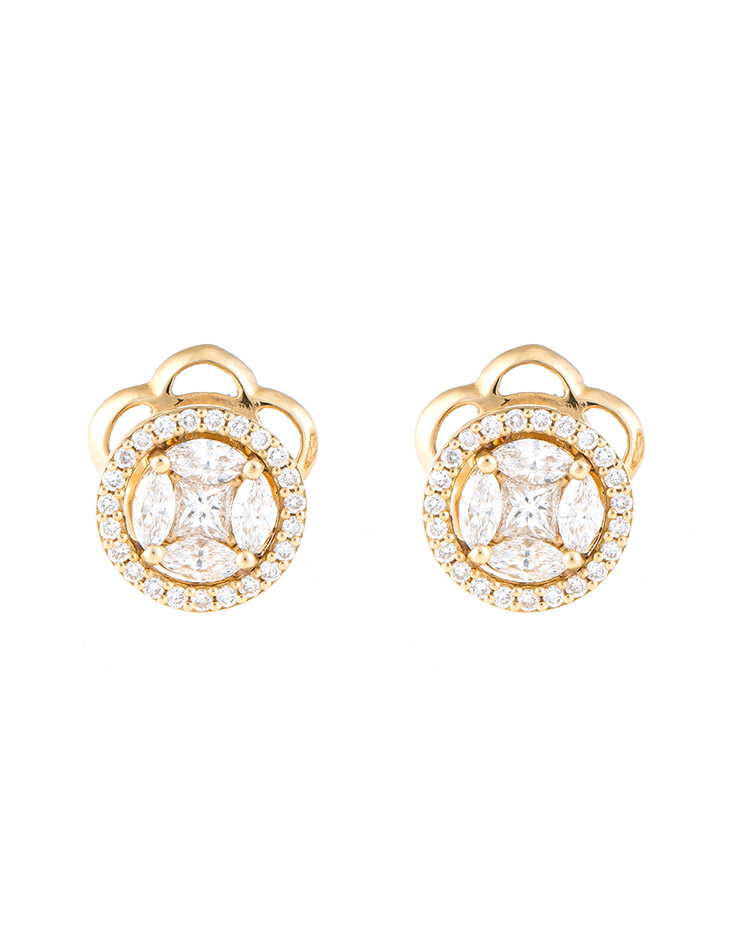 "Image of ""Mosaic Collection 18K Yellow Gold Diamonds Earrings"""