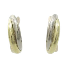 Cartier 18K White Pink & Yellow Gold Trinity Earrings