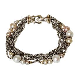 David Yurman Sterling Silver & 18K Yellow Gold Multi Box Chain Pearl Strand Bead Bracelet