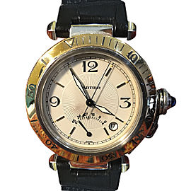 Cartier Pasha W3101255 Power Reserve Leather and Stainless Steel 38mm Mens Watch