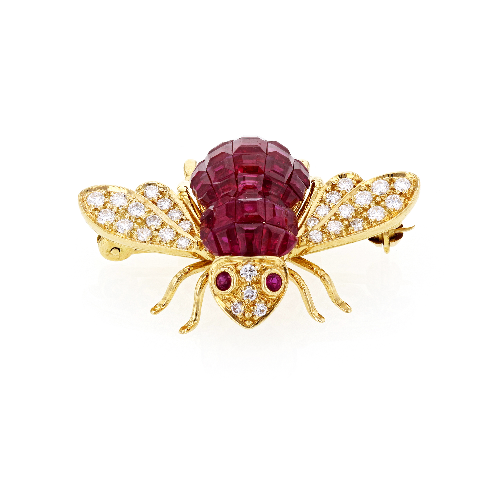 "Image of ""Sabbadini Gioielli 18K Yellow Gold with Ruby and Diamond Honey Bee"""