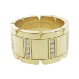 Cartier 18K Yellow Gold Tank Francaise Diamond Ring Size 6