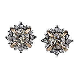 Bochic 18K Rose and Black Gold 2.50 Ct Diamond Stud Earrings