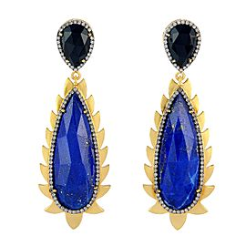 18K Gold & Sterling Silver Lapis, Black Onyx & Diamonds Flame Earrings