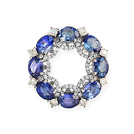 18K White Gold 0.46 Ct Diamonds & 3.98 Ct Blue Sapphire Circle Pendant Charm