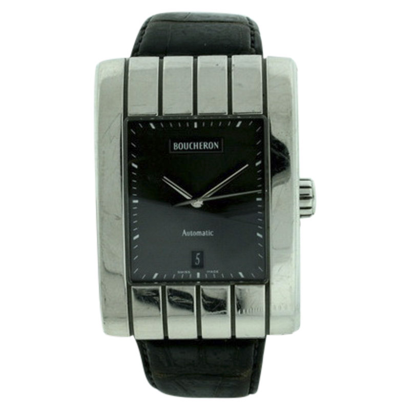 "Image of ""Bucheron Stainless Steel & Leather Black Dial Automatic w/Date 32mm"""