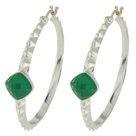 Stephen Webster 925 Sterling Silver & 14K Gold Crystal Chrysoprase Hoop Earrings