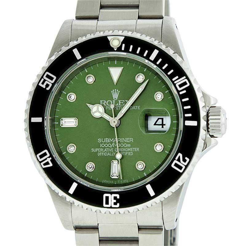 "Image of ""Rolex Submariner Stainless Steel Green Diamond 40mm Watch"""