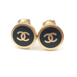 Chanel Gold Tone Metal Black Button Clip on Earrings