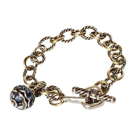 David Yurman 925 Sterling Silver & 18K Yellow Gold Blue Topaz Oval Link Cable Museum Charm Bracelet