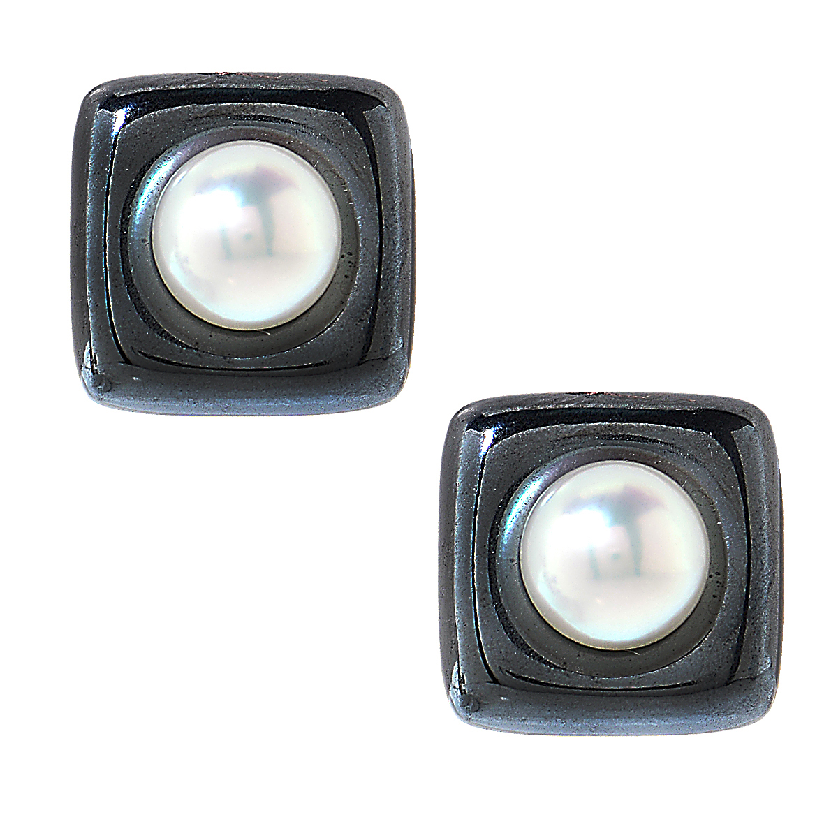 "Image of ""Angela Cummings 18K Yellow Gold Pearl & Hematite Earrings"""