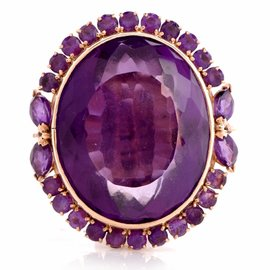 18K Yellow Gold 51.65ct Amethyst Cocktail Ring Size 8.5