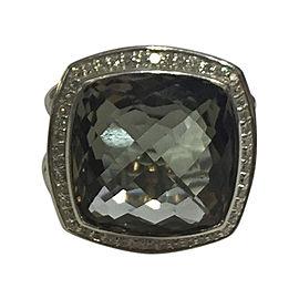 David Yurman Albion Sterling Silver Prasiolite and Diamonds Ring Size 7.5