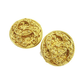 Chanel Gold Tone Hardware CC Mark Round Earrings