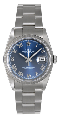 """Image of """"Rolex Datejust 16220 Stainless Steel Blue Dial 36mm Mens Watch"""""""