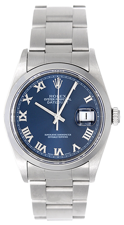 """Image of """"Rolex Datejust 16200 Stainless Steel Blue Dial 36mm Mens Watch"""""""