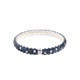 Stretch Collection 18K White Gold Diamonds and Sapphires Bracelet