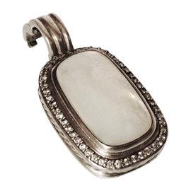 David Yurman 925 Sterling Silver Mother Of Pearl & Diamond Elongated Albion Pendant