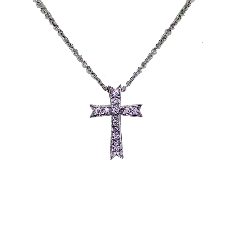 "Image of ""Simon G. 18k White Gold 0.09ct. Diamond Cross Pendant Necklace"""