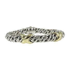 David Yurman 925 Sterling Silver 18K Yellow Gold Wheat Chain XX Bracelet