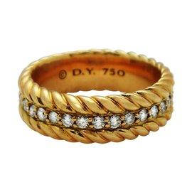 David Yurman Classic Cable 18K Rose Gold & Diamonds Band Ring Size 9.5