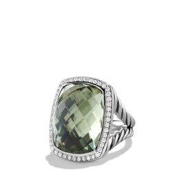 David Yurman Albion Sterling Silver Prasiolite & Diamonds Ring Size 7.25