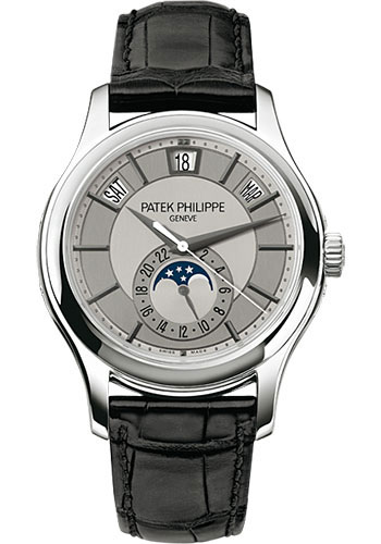 "Image of ""Patek Philippe 18K White Gold / Black Leather with Grey Dial 40mm Mens"""