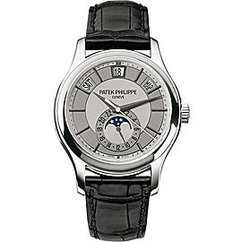 Patek Philippe 18K White Gold / Black Leather with Grey Dial 40mm Mens Watch
