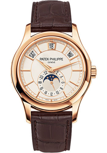 "Image of ""Patek Philippe 18K Rose Gold / Brown Leather White Dial 40mm Mens"""