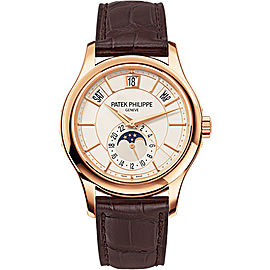 Patek Philippe 18K Rose Gold / Brown Leather White Dial 40mm Mens Watch