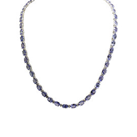 14K White Gold 45.56ct Tanzanite and 1.80ct Diamond Necklace