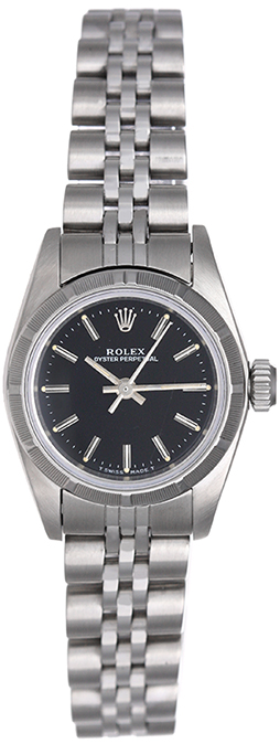 """Image of """"Rolex Oyster Perpetual 67230 Stainless Steel Black Dial 25mm Womens"""""""