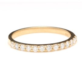14K Yellow Gold 0.35ct Natural Diamond Band Ring Size 6.5