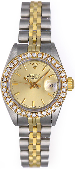 "Image of ""Rolex Datejust 69173 Stainless Steel Champagne Dial 26mm Womens Watch"""