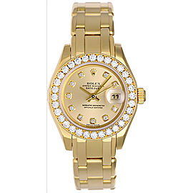 Rolex Pearlmaster 80298 18K Yellow Gold Diamond 29mm Womens Watch
