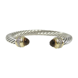 David Yurman 925 Sterling Silver 18K Yellow Gold .48ct. Diamond & Citrine Cable Classics Bracelet