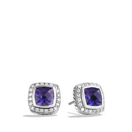 David Yurman Petite Albion Sterling Silver Amethyst and 0.39 Ct Diamond Earrings