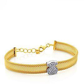 Tous 18K Yellow & White Gold 0.20ct Diamond Mesh Bracelet