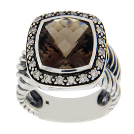 David Yurman Sterling Silver 11mm Smokey Quartz and Diamond Albion Midnight Ring Size: 5.5