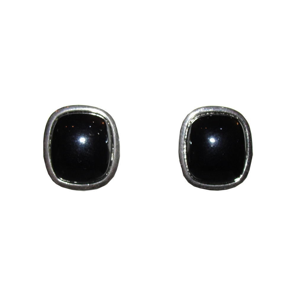 "Image of ""Dior Silver Tone Faux Hematite Cabochon Earrings"""