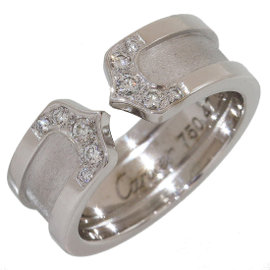 Cartier 18K White Gold Diamonds Double C Motif Ring Size 4
