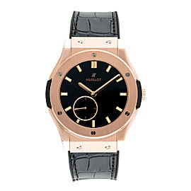 Hublot King Gold Black Dial Black Leather Band 18K Rose Gold Automatic 45mm Mens Watch