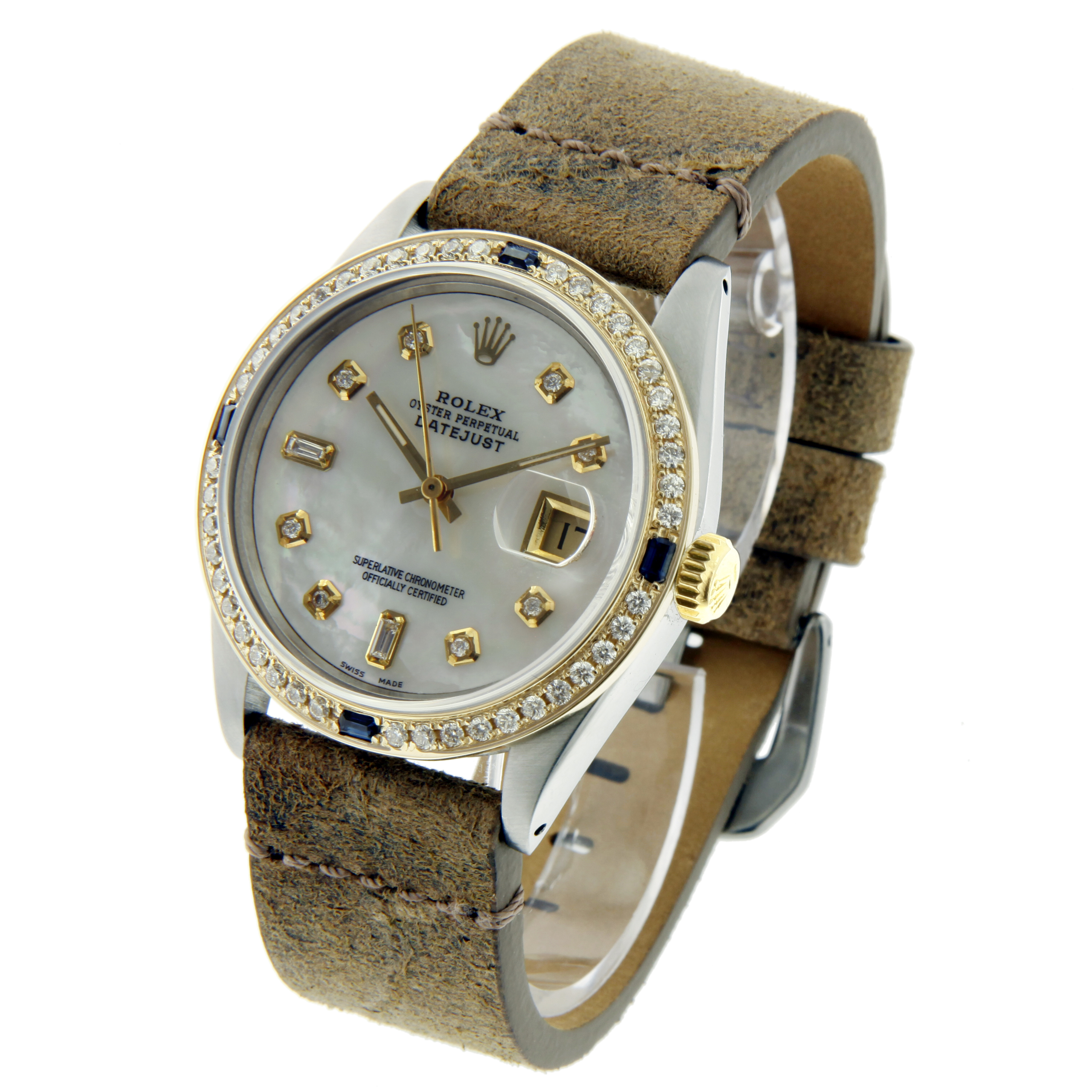 """Image of """"Rolex Datejust 16013 Stainless Steel & White Mother Of Pearl Diamond"""""""